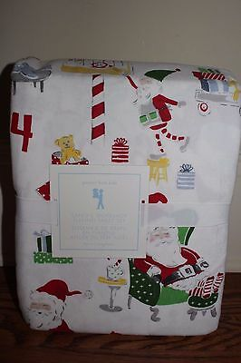NWT Pottery Barn Kids Santas Workshop Christmas flannel twin sheet set