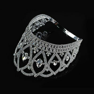 Miss Beauty Pageant Tiara Contoured Crown Clear Crystal Brides Women Headband