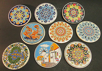 9 Vintage Ceramic ROUND TILE COASTERS Handmade by Niarchos Hellas Greece