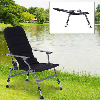 Outsunny Fishing Camping Chair Outdoor Heavy Duty 4 Adjustable Leg Recliner