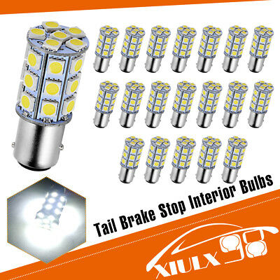 20x Pure White 1157 BAY15D 27-SMD Tail Brake Stop Backup Signal LED Light Bulbs