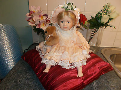 Wendy Kb Collection Sitting Porcelain Doll With Teddy.