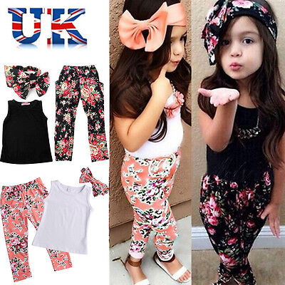 3pcs Kids Toddler Baby Girls Tops+Pant+Headband Outfits Costume Clothes Age 1-8Y