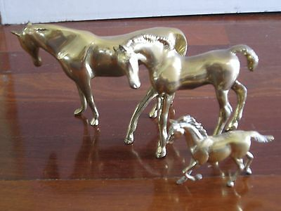 3 x very heavy Vintage solid brass horses statue