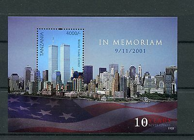 Tanzania 2011 MNH September 11th Memorial 1v S/S WTC Skyscrapers Stamps