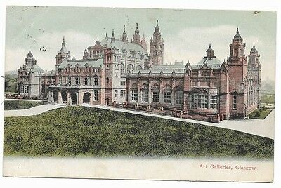 Old 1905 Printed Postcard. The Art Galleries, Glasgow.   66