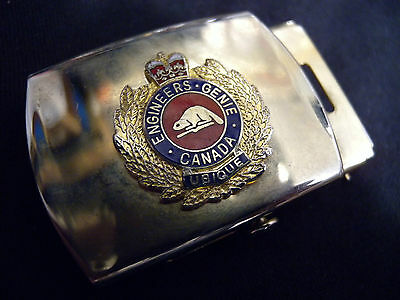 Royal Canadian Engineers Web Belt Buckle Genie Rce R.c.e. Canada Solid Brass