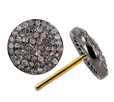 Natural Diamond Pave 925 Sterling Silver Stud Earrings 14k Gold Antique Look PY