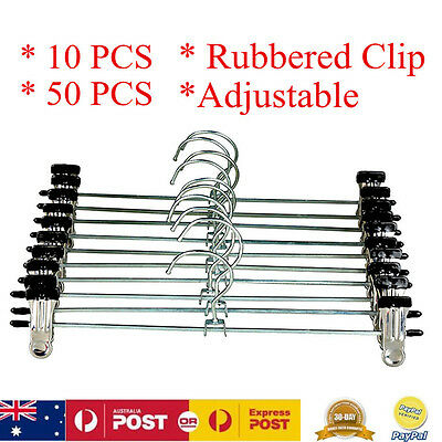 Adjustable Metal Clips Clothes Hangers Pants Trousers Skirts Coat Wardrobe Rack