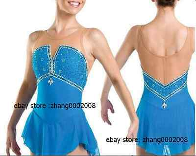 Ice skating dress.blue Competition Figure Skating dress. Baton Twirling custom