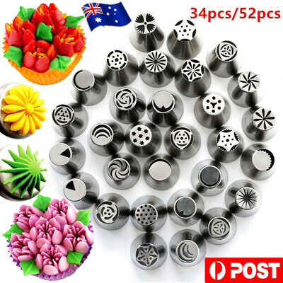 34/52pcs Russian Flower Piping Tips Cake Decorating Pastry DIY Icing Nozzles