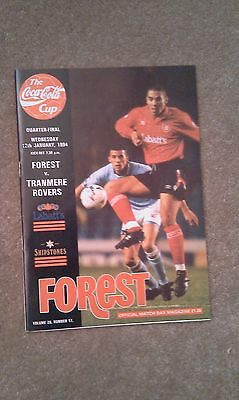 Coca Cola Cup Quarter Final football programme Forest V Tranmere Rovers 1994
