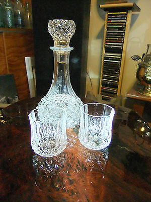 """VINTAGE CRYSTAL WHISKY SET, perfect condition, 2 bonus glasses for """"buy now""""sale"""