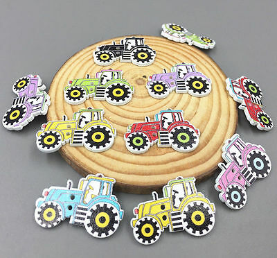 DIY Cartoon car Wooden Sewing Buttons Mixed-color decoration scrapbooking 32mm