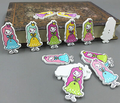 DIY Wooden girl princess Buttons Fit Sewing Mixed-color scrapbooking craft 35mm