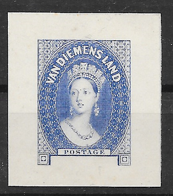 TASMANIA 1855 No denomination Blue Proof on Card (2683)