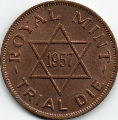 Royal Mint Trial Die 1957 Copper Coin / Token / Pattern
