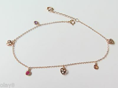 Summer New Pure Au750 18K Rose Gold Women's O Link Chain Heart Anklet 9.4INCH