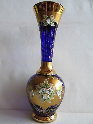 "12"" tall  MAGNIFICENT BOHEMIAN BLUE GLASS GILT VASE HAND-PAINTED ENAMEL FLOWERS"
