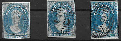 TASMANIA 1857 4p Blue, The Three Shades (2693