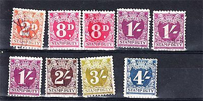 New South Wales Numeral Duties X 9 To 4/- Used (D27)