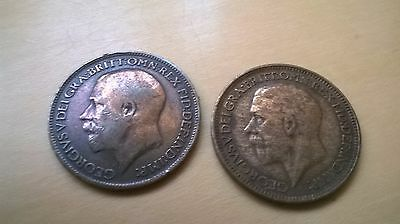 Two Old British Farthings 1918  and 1934