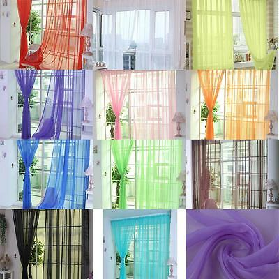 2x Colorful Sheer Curtain Panel Window Balcony Tulle Room Divider Valances New