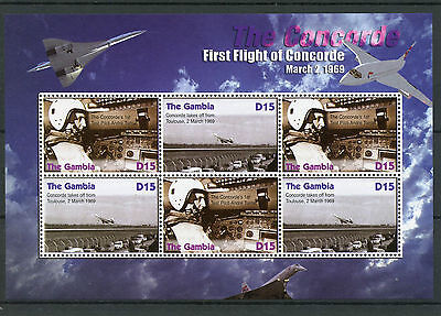 Gambia 2006 MNH Concorde First Flight 4v M/S Jet Planes Aviation Turcat Stamps