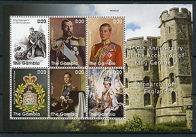 The Gambia 2010 MNH King George V Accession 100th Monarchs England 6v M/S Stamps