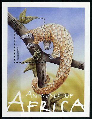 Gambia 2002 MNH Animals of Africa 1v S/S Fauna Wild Animals Pangolin Stamps