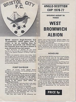 BRISTOL CITY v WEST BROMWICH ALBION ~ ANGLO SCOTTISH CUP ~ 7 AUGUST 1976