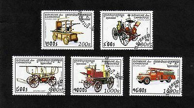 Cambodia 1997 Fire Engines short set of 5 values used