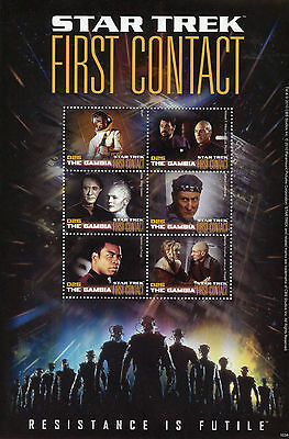 Gambia 2010 MNH Star Trek First Contact 6v MS Riker Picard Worf Data Borg Stamps