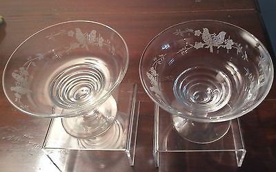Stuart Crystal X One Pair Etched - RD 68164 Art Deco Bird Pattern