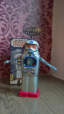 Nmib: Boxed Alps Mechanical Television Space Man Japan Tin Toy Robot