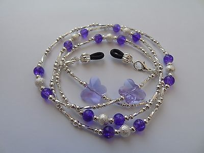 Handmade Purple Crystal Butterfly Beaded Spectacle / Glasses Chain / Necklace.