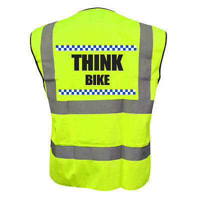 Sillitoe THINK BIKE Hi Vis YELLOW Vest Reflective Hi Vi Riding Jacket