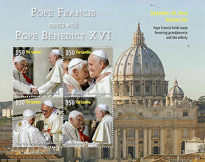 Gambia 2015 MNH Pope Francis Meets Pope Benedict XVI 4v M/S Vatican City Stamps