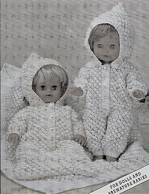 """#137 DK Doll Premature Baby Girl//Boy H12,14,16/"""" Outfits x3  Knitting Pattern"""