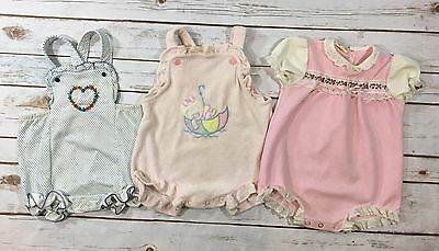 Vintage 80s Carters Baby Girl Sunsuit Lot of 3 - Size 24 Months One-Piece Romper