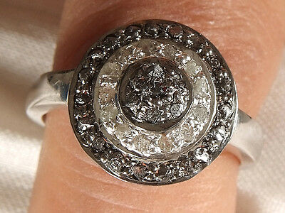0.85. ct BLACK & WHITE ROUGH NATURAL DIAMOND .925 SILVER RING SIZE 7 SEE VIDEO