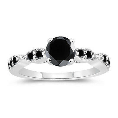 1.27 ct AAA BLACK COLOR REAL MOISSANITE ROUND .925 STERLING SILVER RING SIZE 7
