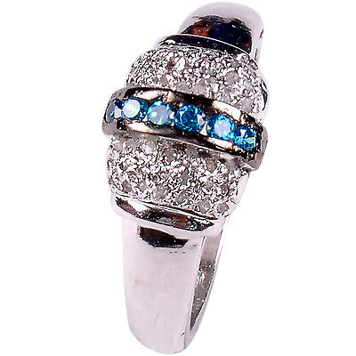 0.94 ct NATURAL REAL RAW DIAMOND .925 STERLING SILVER RING SIZE 7 see video