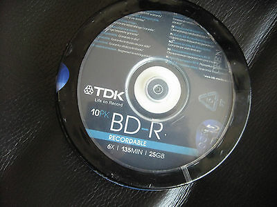 TDK BD-R RECORDABLE Blank Media Blu-ray Disks 10pk Spindle 25GB 6X Speed