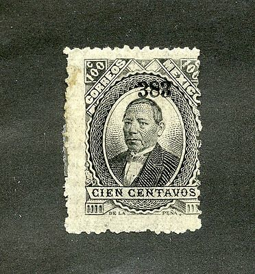 MEXICO 1879-82 100c black opt 383 also stamped on back but albino, gum faults