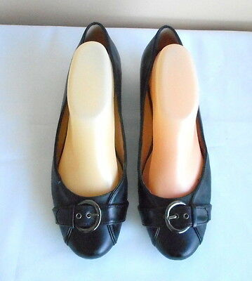 """Supersoft By Diana Ferrari"" Ec Size 9 Black Leather Ballet Flats"