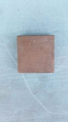 Vintage W & T Avery Ltd 1lb Square Brass Test Weight