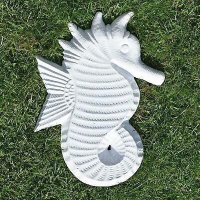 Vintage White Finish Hand Cast Seahorse Shaped Garden Stepping Stone