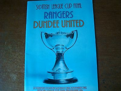 RANGERS V DUNDEE UNITED NOV 1981 (Scottish League Cup Final)