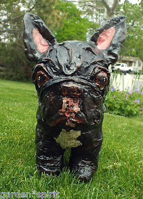 Folk Art Vintage Style New Frenchie French Bulldog Paper Mache Figurine Ooak